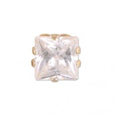 MEN's Single 5 mm Square Cubic Zirconia Stud