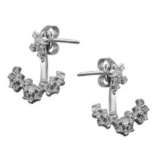 Double Cubic Zirconia Front to Back Earrings