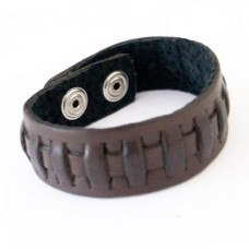 Men's Brown Leather Woven Cuff