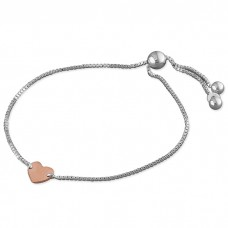 Slider Bracelet with Rose Heart