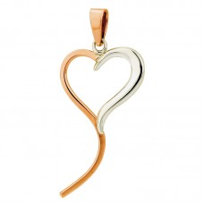 Sterling Silver & Copper Heart & Tail Pendant